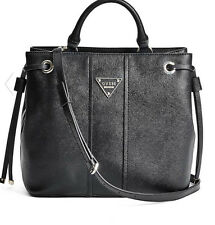 NWT GUESS Cooper Medium Satchel Tote Bucket Bag Handbag Purse Black