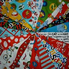 40 4-inch DR. SEUSS Quilt Fabric Squares - Grinch, Cat in the Hat, Lorax, Etc.