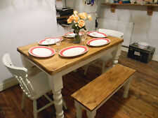 shabby chic solid pine table 2 spindle back chairs and 2 benches