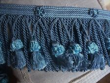 V1 ANCIEN GALON PASSEMENTERIE ROYAL FRANGES TORSEES POMPONS  BLEU DENIM
