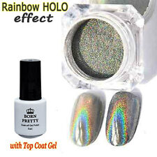 Rainbow Holographic Laser Powder Nail Glitter Pigment with Top Coat Gel Kit DIY