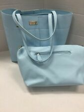 NWT BCBG Paris Baby Blue Shoulder Tote/Handbag Set Textured Pu Leather  $145