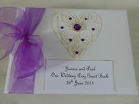 Wedding Guest Book Purple Engagement Birthday Personalised with box Photo Album