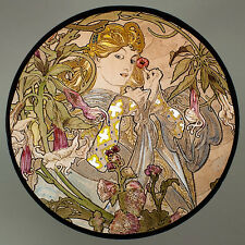 Mucha, glass painting, kilnfired, handpainted,Datura, stained glass, suncatcher