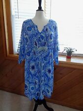Chico's sheer shell dress with full lining 3/4 flare sleeve blue dress size 2