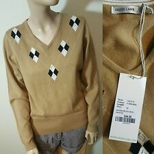 RRP £44.99 BNWT Green Lamb Caramel Beige Gold Sparkly Argyle Jumper Knit Size 12