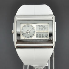OHSEN White Womens Analog Digital Alarm Light Chronometer Quartz Rubber Watch