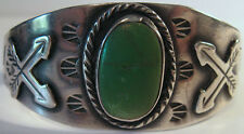 VINTAGE NAVAJO INDIAN STERLING SNAKES & ARROWS CERRILLOS TURQUOISE CUFF BRACELET