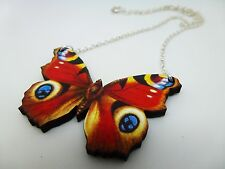 BEAUTIFUL VIBRANT PEACOCK WOODEN BUTTERFLY SILVER NECKLACE PENDANT REDS
