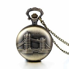 Vintage Retro London Bridge Pattern Bronze Tone Pocket Watch Open Face Necklace