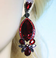Red Marquise Chandelier Earrings Rhinestone 2.6 in Long Pageant Bridal Prom
