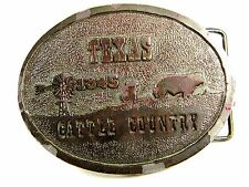 1973 Texas Cattle Country Nutrena Feedsl Belt Buckle By Wyoming Studio Arts