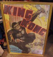 "RARE Vintage 28""x19"" KING KONG Movie Poster RKO Radio Fay Wray Framed"