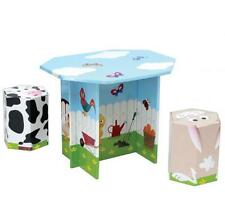KROOOM GARDEN FARM ANIMALS CARDBOARD TABLE AND 2 STOOLS CHAIRS KID FURNITURE SET