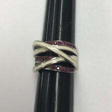 Authentic EFFY Sterling Silver Ruby And Enamel Ring Size 9