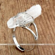 1Pc Clear Crystal Freeform Gems Wire Wrap Healing Point Stone Finger Ring Jewel