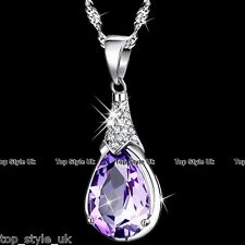 CHRISTMAS GIFTS FOR HER Purple Tear Crystal Necklaces Women Daughter Mum Wife K8