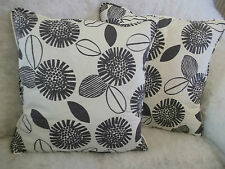 """ABSTRACT SUNFLOWERS  BY JOHN LEWIS 1 PAIR OF 18"""" CUSHION COVERS - DOUBLE SIDED."""