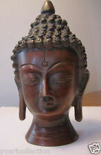 BRASS MADE COPPER PLATED BUDDHA HEAD GIFT & HOME DECOR STATUE SCULPTURE !