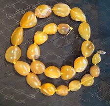 "Very Pretty Amber Natural Agate 18"" Necklace Chunky BOHO"