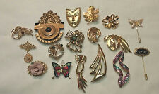 VINTAGE Estate Lot of 17 Pins- Brooches Gold Toned Nice! Enamal, Rhinestones +