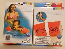 NEW INTEX DELUXE 2 Pairs Orange Arm Bands Arm Floats Water Swimmies Ages 3-