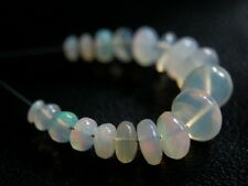 Natural Ethiopian Opal Smooth Rondelle Gemstone Beads 18pcs