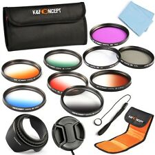 52mm Graduated Color UV CPL FLD ND Lens Filter Kit Hood Pen Cap For Nikon 18-55