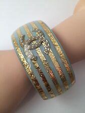 Rare Chanel Versailles Resort Gold Pearl CC Logo Bracelet Cuff 13C