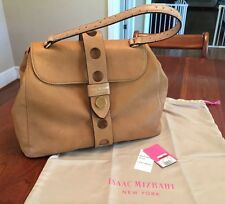 NWT Isaac Mizrahi Olivia Gold Camel Tan Leather Flap Handbag Purse Satchel $298