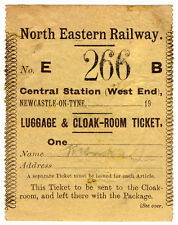 (I.B) North Eastern Railway : Luggage & Cloak Room Ticket (Newcastle Central)