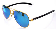 RAY BAN 8307 58 REMIX GOLD ORO AVIATOR BLUE MIRROR SUNGLASSES BLU SPECCHIO SOLE