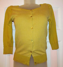 JOHN SMEDLEY very soft stretchy button down 3/4 sleeve ochre cardigan top S NWOT