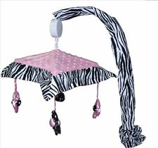 Musical Mobile - Pink Minky Zebra by Sisi