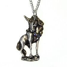 New Galraedia Starfire Unicorn Pendant Necklace Silver Plated Blue Crystal GA14