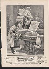 1899 ADVERT SWAN WHITE FLOATING SOAP CHILDREN & CAT WATCHING SOAP BOAT IN GARDEN