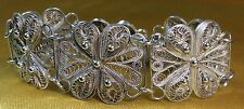 Vintage Antique Sterling Silver Filigree Ladies Bracelet- Over 21 Grams