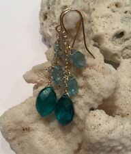 *NEW* 14k solid yellow gold Apatite, Topaz, And Paraiba an briolette earrings