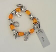 NEW Orange translucent beads with silver charms bracelet fashion jewellery
