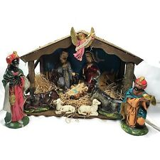 VINTAGE SEARS 13 PC. LIGHTED MUSICAL PAPIER MACHE NATIVITY SET W/ BOX 1960's