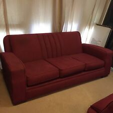 Vintage Club Lounge Three Piece Suite Burgundy Red Great Condition Couch 2 Chair