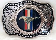 Ford Mustang Logo Western Style Belt Buckle Silver with Durable Acrylic Finishd