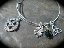 Celtic Cross Adjustable Bangle Bracelet with Celtic knot Shamrock charms Irish