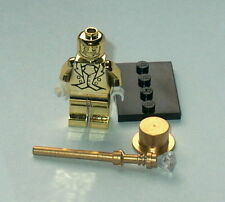 COLLECTIBLE MINIFIGURE Lego Custom Mr Gold Chrome & Staff w/Gem (mpht)