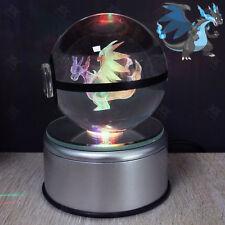 3D Pokemon Mega Charizard X Boule de Cristal Lumière Veilleuse Lampes de Table