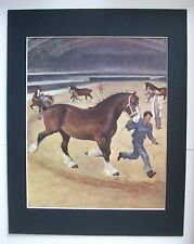 Clydesdale Horse Print Wesley Dennis Marguerit Henry Bookplate 1951 11x14 Matted