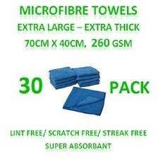 New 30 Microfibre Towels - Extra Large Thick Cleaning Cloths 70cm x 40cm 260GSM