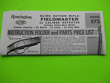 Remington 572 FIELDMASTER Instruction Folder & Parts Price List, tri fold design