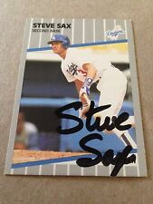 Steve Sax VINTAGE Autographed 89 Fleer PERSONALLY OBTAINED with COA