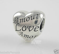 NEW Authentic PANDORA Valentine LANGUAGE OF LOVE HEART Charm/Bead